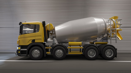 Side View of a Concrete Mixer Moving Through the Tunnel 3D Rendering