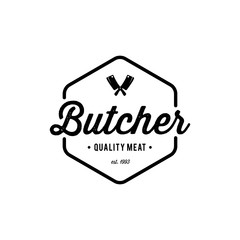 Butcher shop emblem. Butchery store advertising design element. Meat shop typography. Vector vintage illustration. - Vector