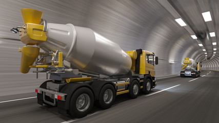 Rear and Side View of Cement Mixers Inside a Tunnel 3D Rendering