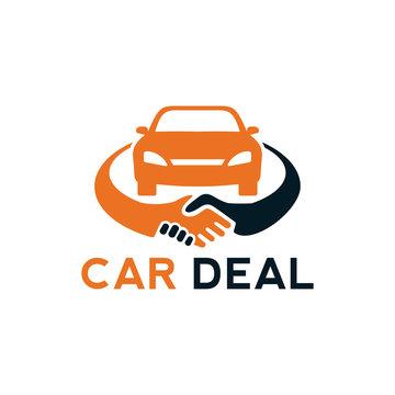 car deal logo design template element with car and handshake illustration