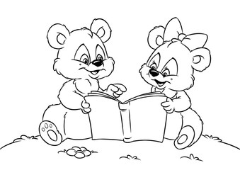 Teddy bear reading book animal coloring pages