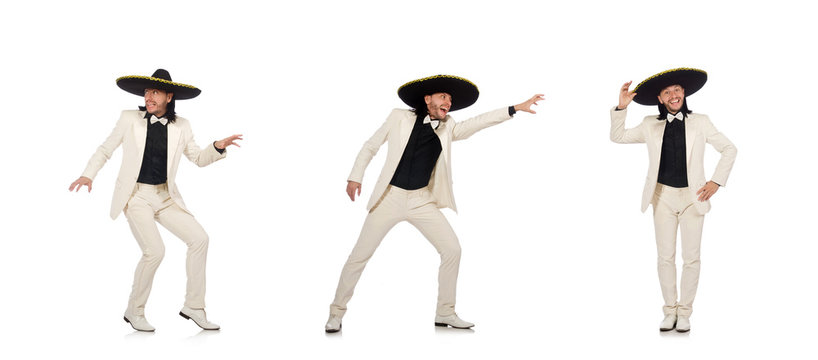 Funny mexican in suit and sombrero isolated on white