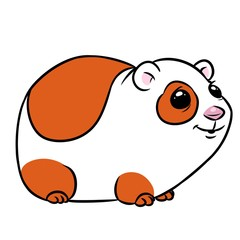 Guinea pig animal character coloring page cartoon illustration isolated image