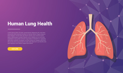 human lung template banner design with free space for text - vector illustration