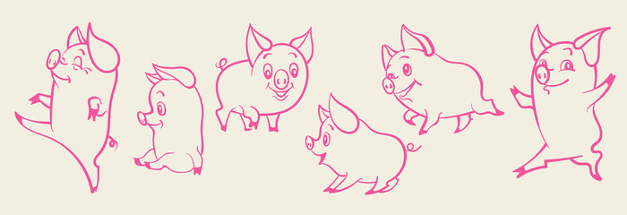 Pigs cartoon vector set