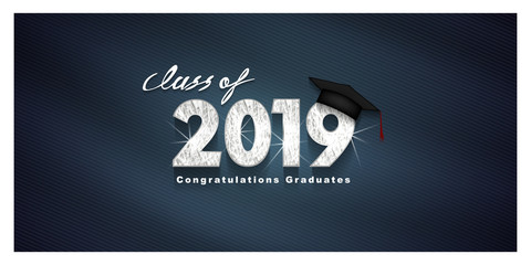 Vector text for graduation silver design, congratulation event, T-shirt, party, high school or college graduate. silver Lettering Class of 2019 for greeting, invitation card