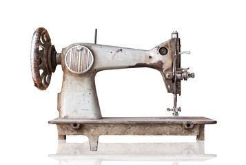 old sewing machine isolated on white background with clipping path.