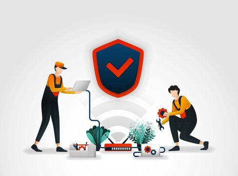 Vector illustration. workers from security companies are checking or maintaining security systems on a router. wireless security system provides VIP protection and monitoring for all security products