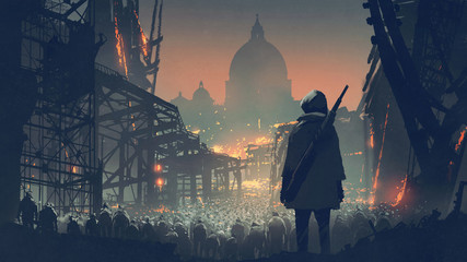 Zelfklevend Fotobehang Grandfailure young man with gun looking at crowd of people in apocalyptic city, digital art style, illustration painting