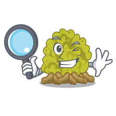 Detective miniature green coral reef with mascot