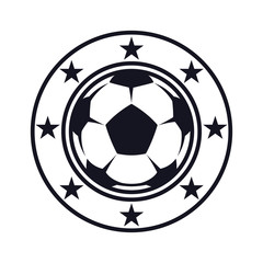 Monochrome, football flat icon, soccer ball and stars. Sport games. Vector illustration, isolated on white background. Simple shape for design logo, emblem, symbol, sign, badge, label, stamp.