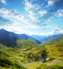 View of the mountain road. Col du Tourmalet in Pyrenees mountains. France.