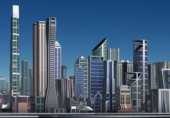 3D Rendered Futuristic City - 3D Illustration