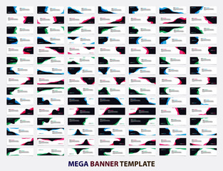 Mega collection of 105 banner design template. Abstract wave concept. Banner web design vector.