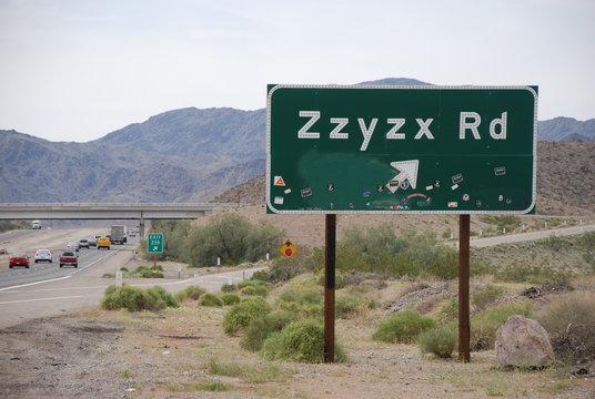 Zzyzx Road Straßenschild, Kalifornien