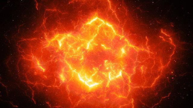 Fiery glowing high energy lightning