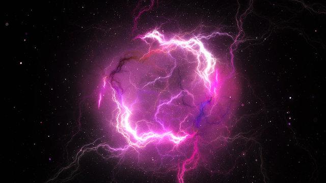 Purple plasma lightning in space