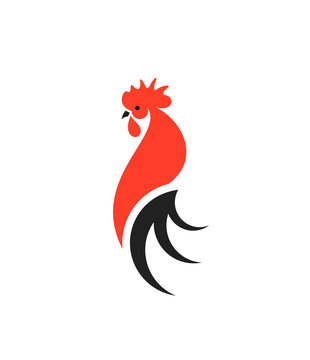 Red rooster with black tail. Logo. Isolated rooster on white background