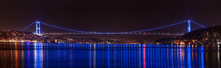 Bosphorus Panorama. Fatih Sultan Mehmet Bridge in Istanbul Turkey