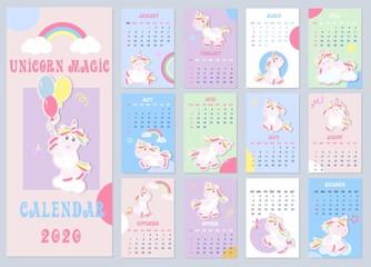 Cute Kids calendar 2020 with little unicorns. Kids calendar, great design for any purposes.