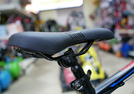 Black Bicycle seat. Bicycle background. Bike shop
