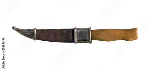 knife with wooden handle solated on white background