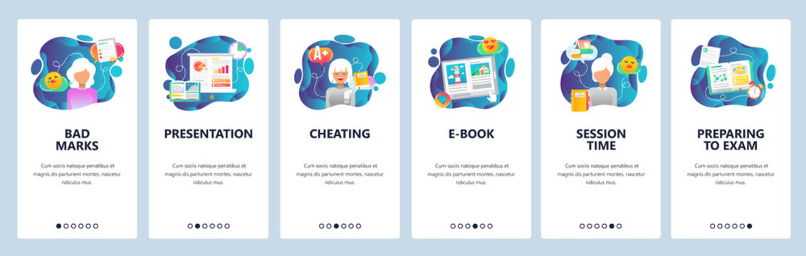 Mobile app onboarding screens. School and college education, exam cheating, session time. Menu vector banner template for website and mobile development. Web site design flat illustration