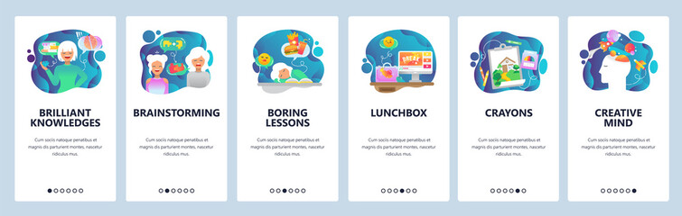 Mobile app onboarding screens. Creativity, brainstorm, knowledge and education, boring lessons. Menu vector banner template for website and mobile development. Web site design flat illustration