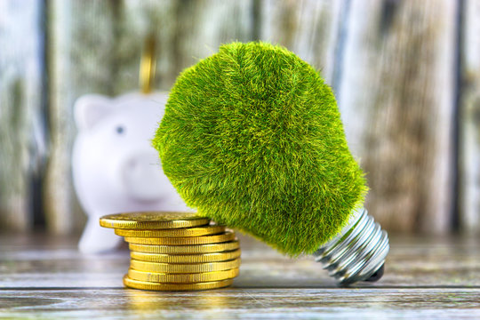Piggy bank, green eco light bulb with grass and golden coins on wooden background. Renewable energy concept. Electricity prices, energy saving in the household.