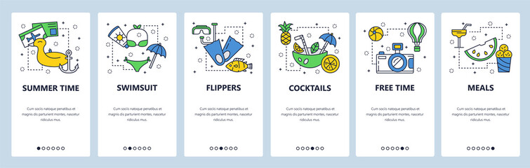 Mobile app onboarding screens. Travel, vacation and beach holiday icons. Swiming, diving, cocktails. Menu vector banner template for website and mobile development. Web site design flat illustration