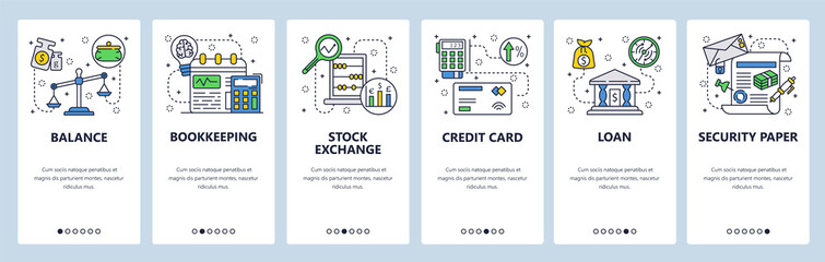 Fototapeta Mobile app onboarding screens. Financial services, bank loan, accounting and credit card payment. Menu vector banner template for website and mobile development. Web site design flat illustration