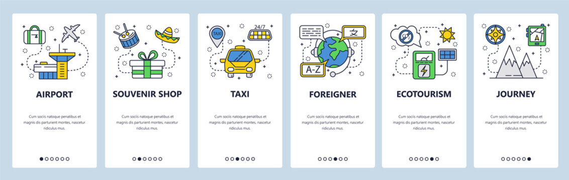 Mobile app onboarding screens. Travel icons, airport, taxi, mountain journey. Menu vector banner template for website and mobile development. Web site design flat illustration