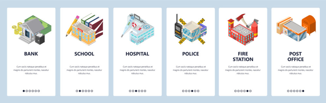 Mobile app onboarding screens. City buildings, bank, police, hospital, school, fire station. Menu vector banner template for website and mobile development. Web site design flat illustration