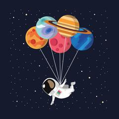 astronaut balloon vector