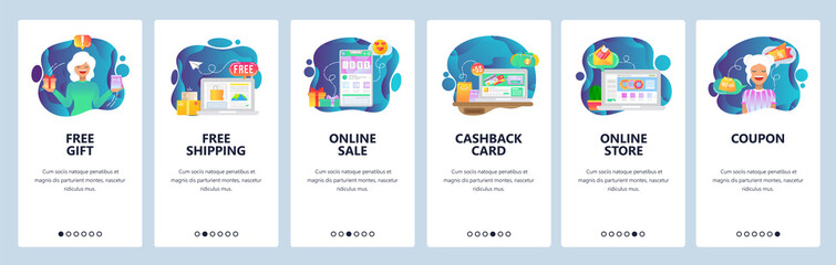 Mobile app onboarding screens. Online shopping and payment, free delivery, cashback and sale. Menu vector banner template for website and mobile development. Web site design flat illustration