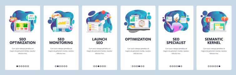 Mobile app onboarding screens. Digital marketing and SEO optimization, traffic analytics. Menu vector banner template for website and mobile development. Web site design flat illustration