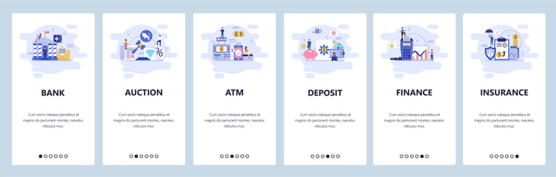 Mobile app onboarding screens. Banking and financial services, auction, atm, deposit saving account, insurance. Vector banner template for website and mobile development. Web site flat illustration