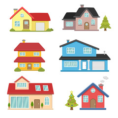 Houses exterior vector illustration front view with roof. Modern home with doors and windows.