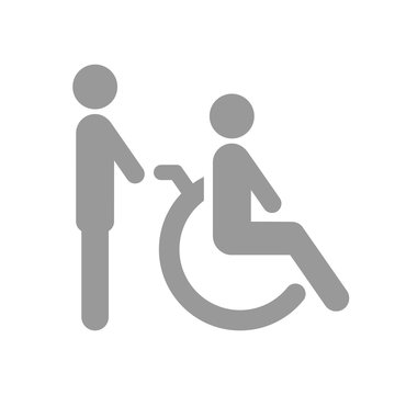 Man pushing wheelchair with disabled person. Vector.