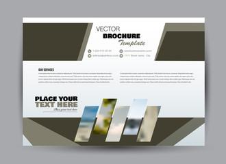 Flyer, brochure, billboard template design landscape orientation for business, education, school, presentation, website. Green khaki military color. Editable vector illustration.