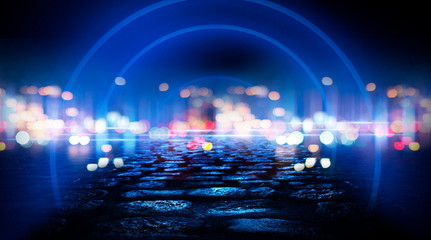 Fotomurales - Neon circle, wet asphalt, reflection. Neon circle with the center of a dark empty scene with spotlights. Abstract light. Lights of the night city, abstract light bokeh, smog, smoke.