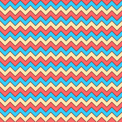 Seamless (you see 4 tiles) chevron pattern, background, wallpaper, repeat pattern, tile or swatch of tan, coral and blue colors