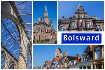 Fototapete - Collage of interesting sights in the Frisian city of Bolsward, Netherlands