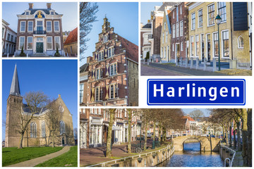 Fototapete - Collage of interesting sights in the Frisian city of Harlingen, Netherlands