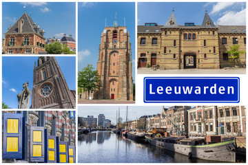 Fototapete - Collage of interesting sights in the Frisian city of Leeuwarden, Netherlands