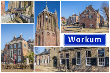 Fototapete - Collage of interesting sights in the Frisian city of Workum, Netherlands
