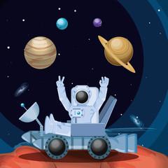 Printed kitchen splashbacks Purple astronaut in the space character