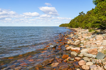 Rocky beach on a lake with forest