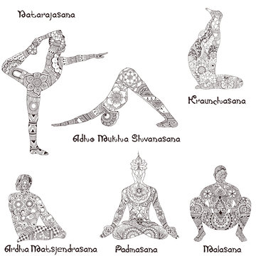 6 asanas in yoga. Silhouettes of decorated pattern in the style of Indian Mehndi.