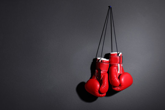 Pair of boxing gloves on grey background, space for text